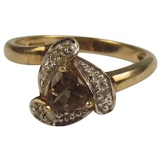 9ct Yellow Gold Smokey Quartz & Diamond Ring UK Size N+ US 7
