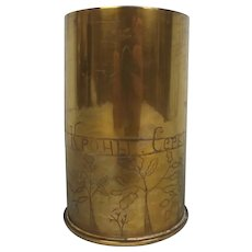 1918 Dated Serbian Trench Art Tobacco Jar Shell Case