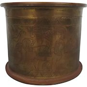 WW1 Egyptian Styled Decorated Brass Tobacco Jar Trench Art Shell