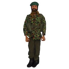 Palitoy Circa 1973 Flock Hair Action Man & Royal Marines Combat Uniform