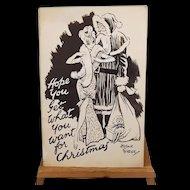 Arthur Ferrier (1891 – 1973) Merry Christmas Hand Drawn Cartoon