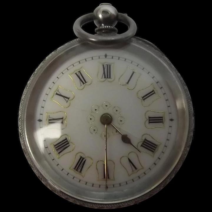 f49b2d701 Ladies Swiss 87.5% JG Silver Pocket Watch Wind Up : The Antiques Storehouse  | Ruby Lane
