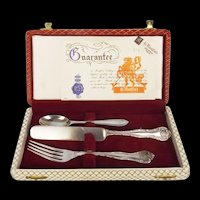 Cased Silver Plated Knife & Fork With Silver Spoon (Hallmarked Sheffield 1936)