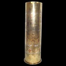 1918 WW1 Silver Inlay Damascus Trench Art Tobacco Jar Shell Case