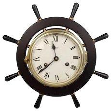 German Watch Striking Brass Schatz Ships Wheel Clock