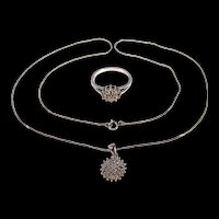9ct White Gold Diamond Necklace And Ring Set