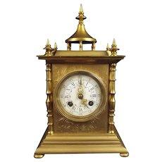 Samuel Marti Ornate Pre-1900 French 8-Day Gilt Striking Mantle Clock