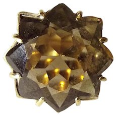 9ct Yellow Gold Smokey Quartz Ring UK Size S, US 9 ¼