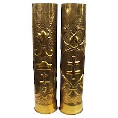 Pair Of Slovakian WW1 Era Brass Trench Art Shell Cases – Site Le Mans, France