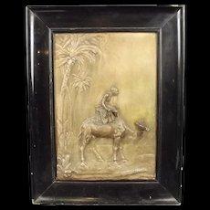 Circa 1880 Fine Framed Copper Egyptian scene