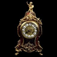 Fine Late French 19th Century Ornate Boulle Work Mantle Clock Retailed By W. Johnson & Sons