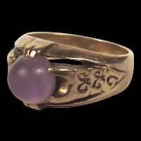1985 9Ct Gold Band Purple Amethyst Ring Size N US Size 6 ¾