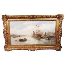 William Edward Webb (1862-1903) Framed Oil On Board - Harbour Scene