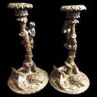 Circa 1850 Finely Cast Bronze Zoomorphic Candlesticks