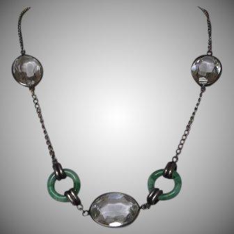 Vintage Art Deco Napier Sterling Silver Crystal Necklace