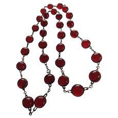 Rare Antique Cherry Bakelite Pools of Light Necklace
