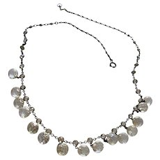 Antique Victorian Crystal Necklace with Faceted Leaded Crystals