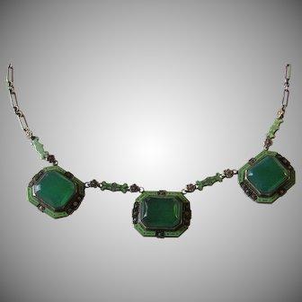 Art Deco Sterling Silver Enamel Chrysoprase Necklace