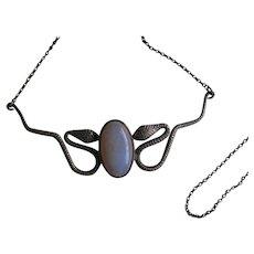Antique Sterling Silver Opal Snake Necklace