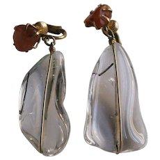 Vintage Mid Century Rutilated Rock Quartz Carnelian Earrings