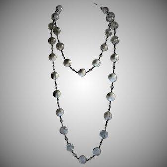 Long Antique Rock Quartz Sterling Silver Pools of Light Necklace -  Large Orbs