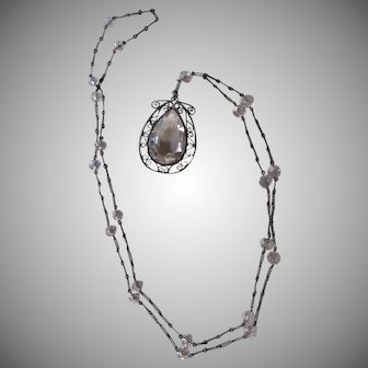 Antique Sterling Silver Crystal Pendant Necklace