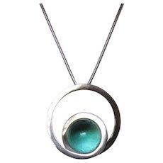 Vintage Modernist Pools of Light Sterling Silver Pendant Necklace