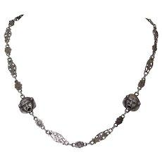 Vintage Sterling Silver Peruzzi Masks Necklace