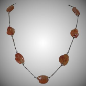 Art Deco Chinese Carved Carnelian Necklace