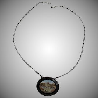 Antique Victorian Micro Mosaic Sterling Silver Pendant Necklace St. Peter's Square