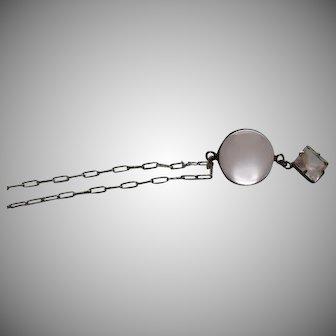 Antique Star Rose Quartz Pools of Light Sterling Silver Pendant Necklace