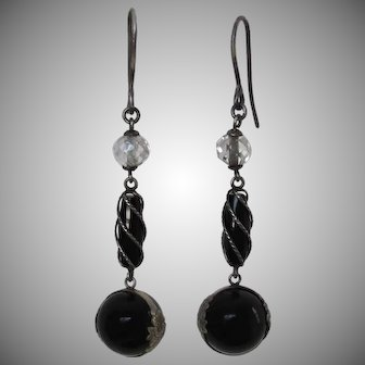 Rare Antique Black Onyx And Rock Crystal Repousse Pools of Light Earrings