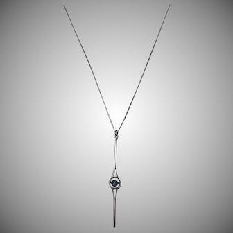 Vintage Mid Century Modernist Sterling Silver Labradorite Pendant Necklace