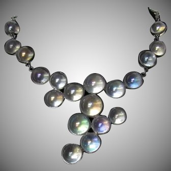 RESERVED - SOLD - Vintage Art Deco Rock Quartz Sterling Silver Pools of Light Iridescent Bubble Necklace