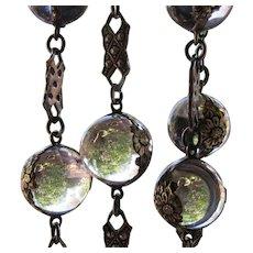 Antique Victorian Repousse Pools of Light Necklace