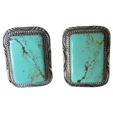 Vintage Native American Sterling Silver Turquoise Navajo Large Cufflinks