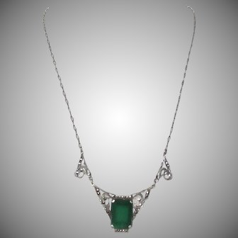 Antique Sterling Silver Chrysoprase Marcasite Necklace