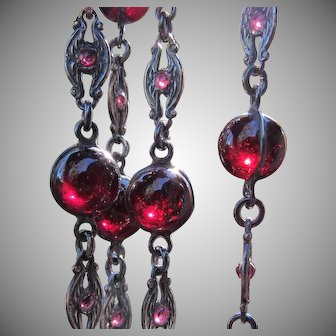 Antique Victorian Garnet Gemstone Orbs Pools of Light Necklace Sterling Silver