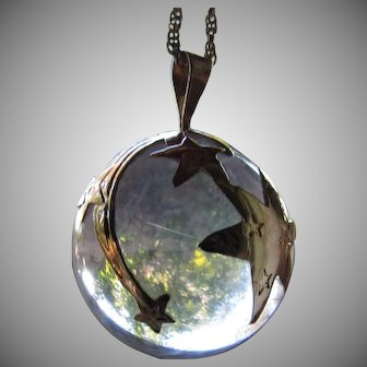 Vintage 14K Rutilated Rock Quartz Pools of Light Pendant Necklace