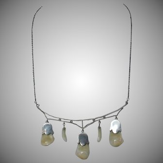 Antique Victorian Sterling Silver Elk Tooth Necklace