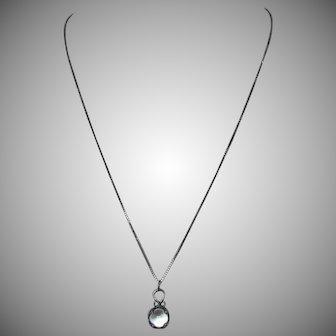 Vintage Sterling Silver Rock Quartz Swedish Gotland Island Viking Pools of Light Tiny Pendant Necklace