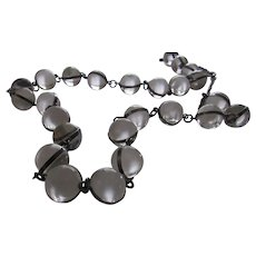 Antique Rock Quartz Orbs Pools of Light Necklace Sterling Silver