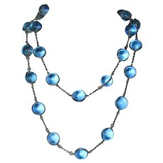 Antique Sterling Silver French Blue Pools of Light Necklace - 40 Inches