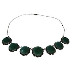 Antique Sterling Silver Chrysoprase Necklace