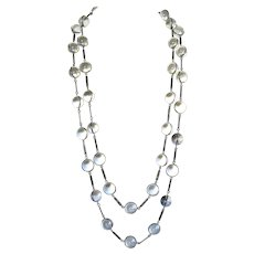 Antique Rock Quartz Pools of Light Sterling Silver Necklace - 56 Inches
