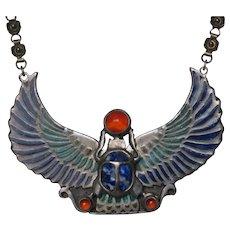 Vintage Heyoka Merrifield Sterling Silver Enamel Scarab Necklace