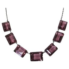 Alexandrite Color Change Crystal Sterling Necklace Art Deco