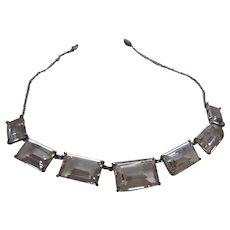 Vintage Art Deco Sterling Rock Crystal Necklace Japan