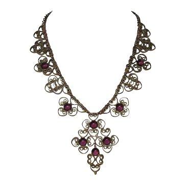 Antique Victorian Gilded Filigree Necklace