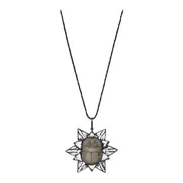 Antique Scarab Silver Filigree Necklace